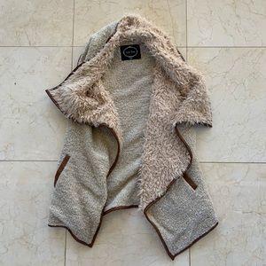 Love Tree Sherpa Oversized Vest Sz L Brown/Tan